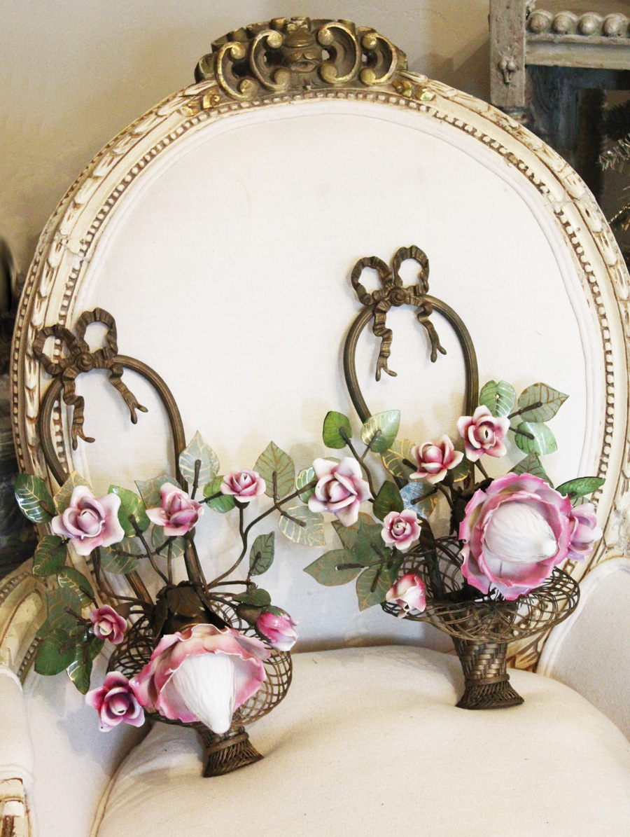 The Best! Pair Antique French Bronze & Porcelain Roses Flower Basket Wall Sconces