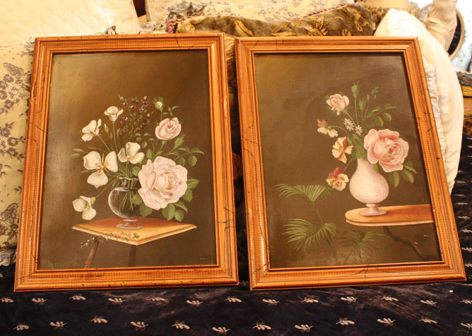 Pair Early 1900s Rose Oil Paintings-