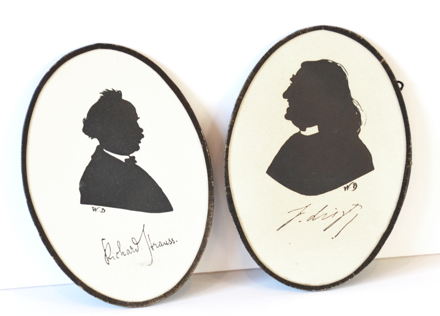 Antique Late 1800s Pair Cameo Silhouettes-