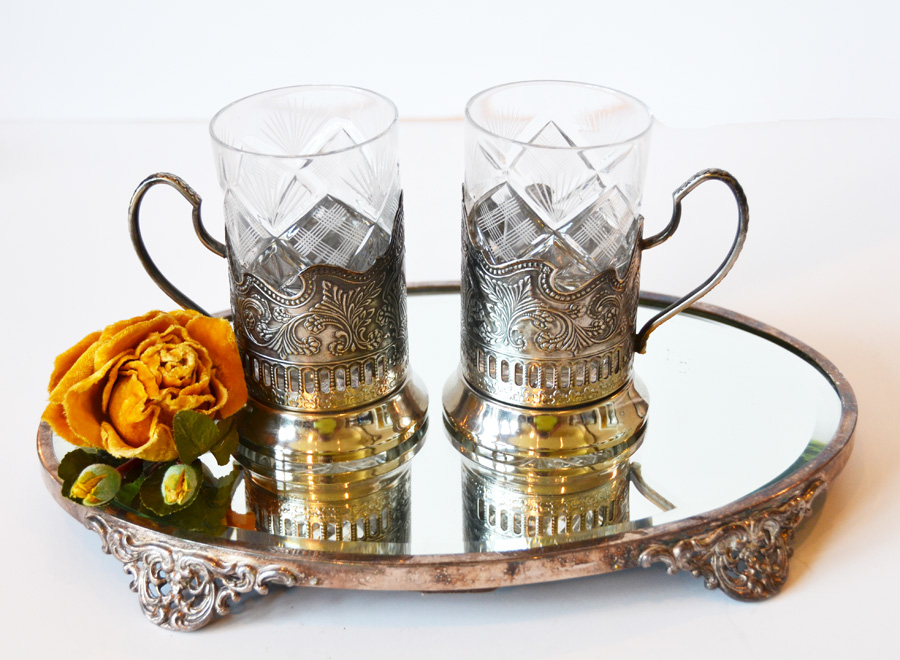 Pair Antique Cut Crystal & Silver Mugs-