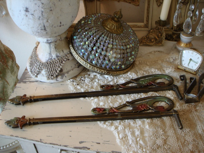 Pair VICTORIAN ANTIQUE SWING ARM CUTAIN RODS-