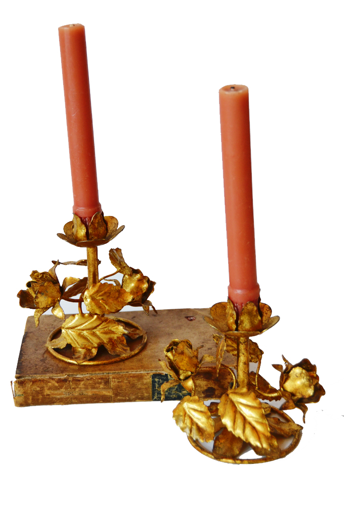 Pair Italian Tole Gilt Rose Candlesticks Antique-
