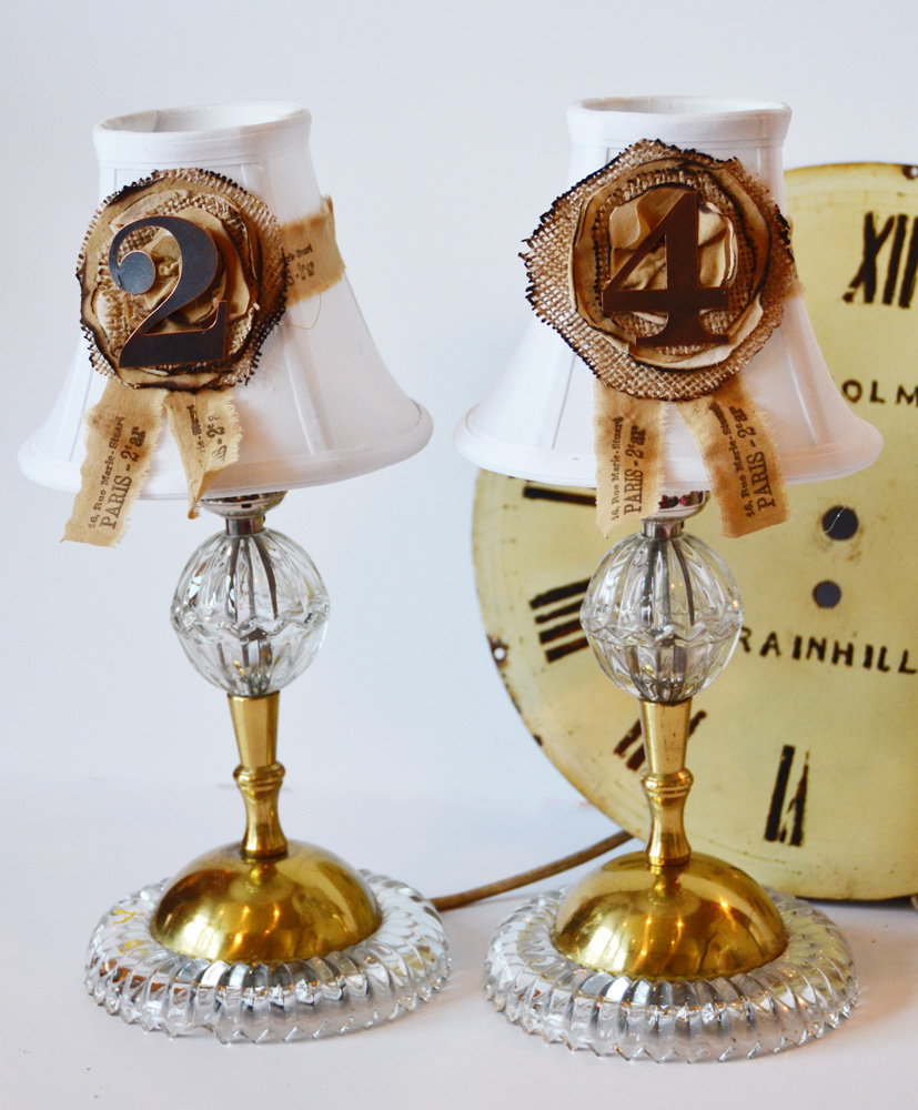 Pair Antique Crystal Boudior Lamps & Shades-