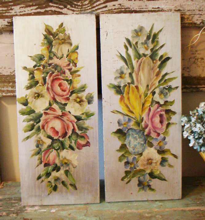 Pair Victorian Floral Oil Paintings on Board-