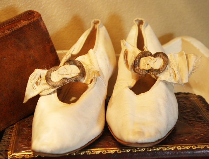 Pair Antique Victorian Wedding Shoes w/Cut Steel Clips