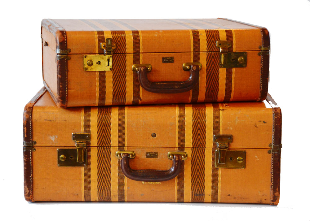 Pair Vintage Leather Suitcases Gorgeous-
