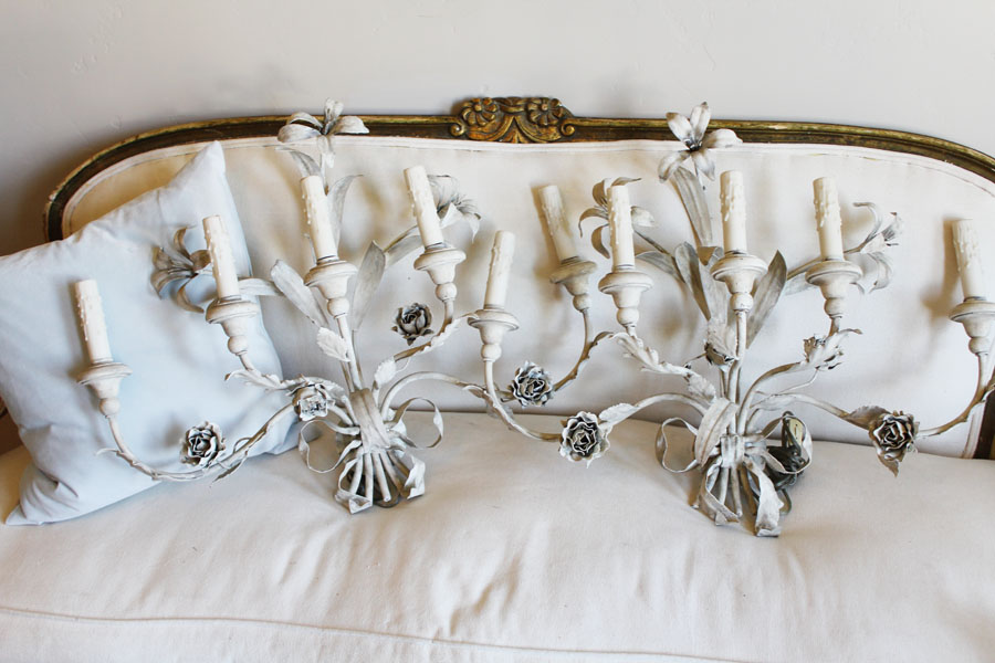 Huge Italian Pair Lily Made in Italy Tole Sconces