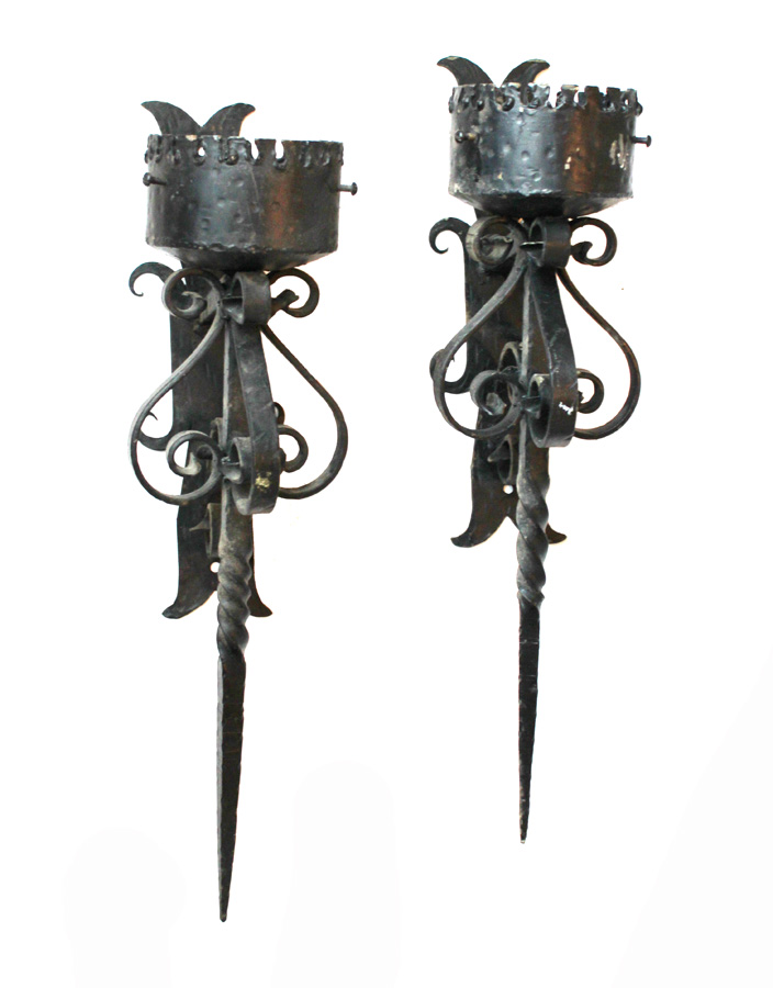 Pair Hand Forged Wrought Iron Wall Sconces