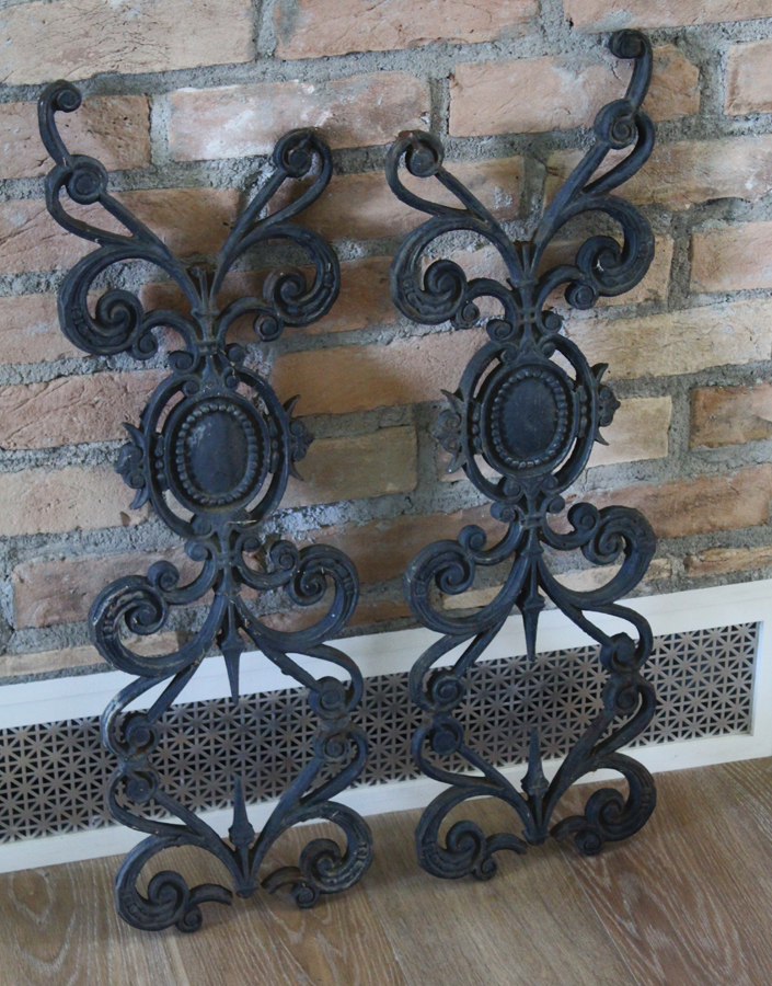 Pair Antique 1800s Wrought Iron Decorative Fragments-