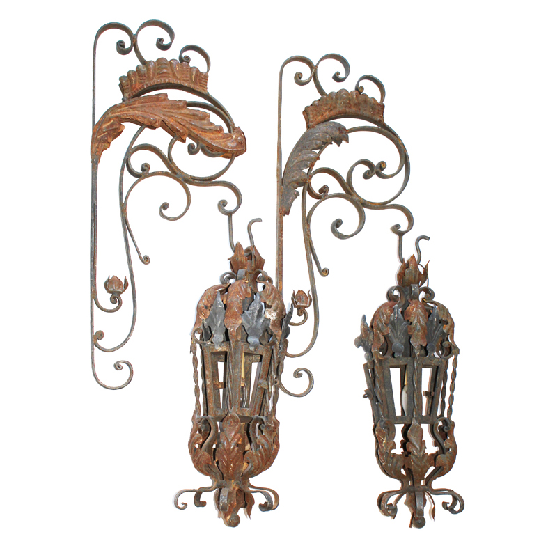Grand 1800s Pair Wrought Iron French Tole Corbel Wall Lanterns-