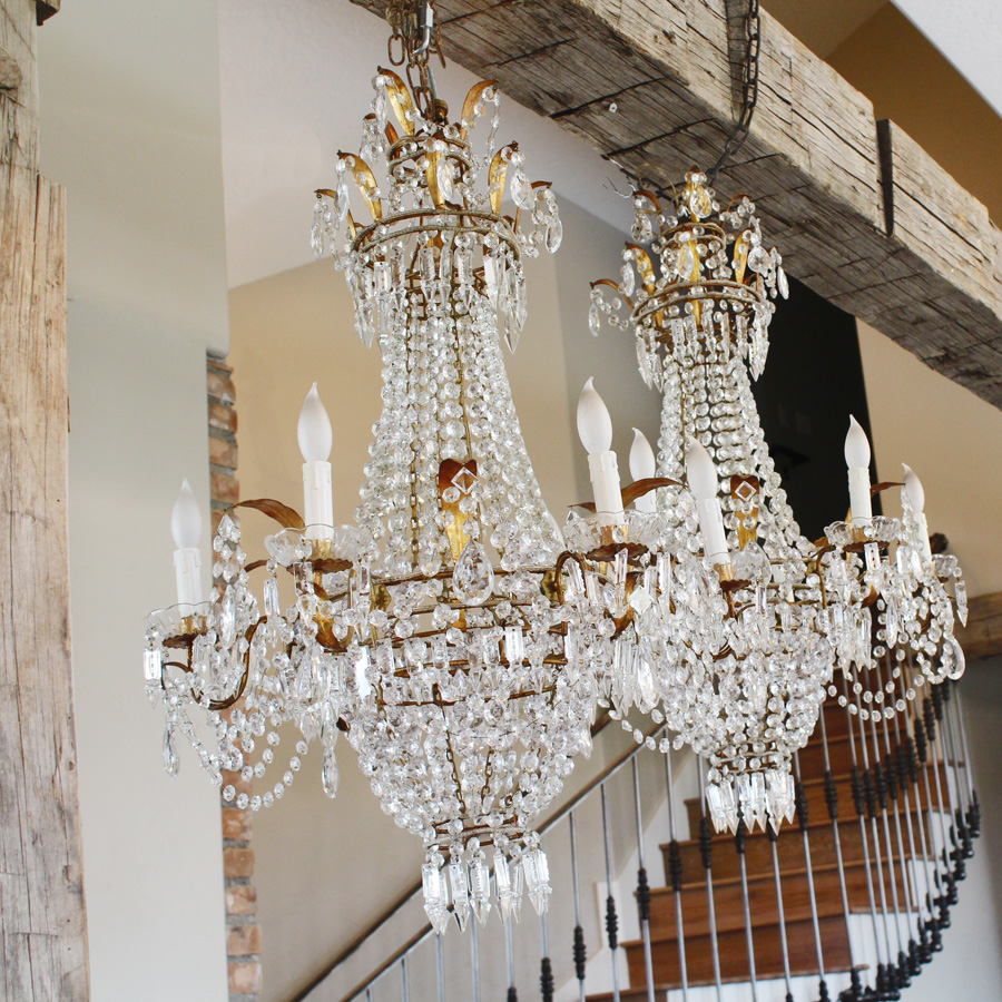 Pair Incredible Xlrg Italian Beaded Chandeliers