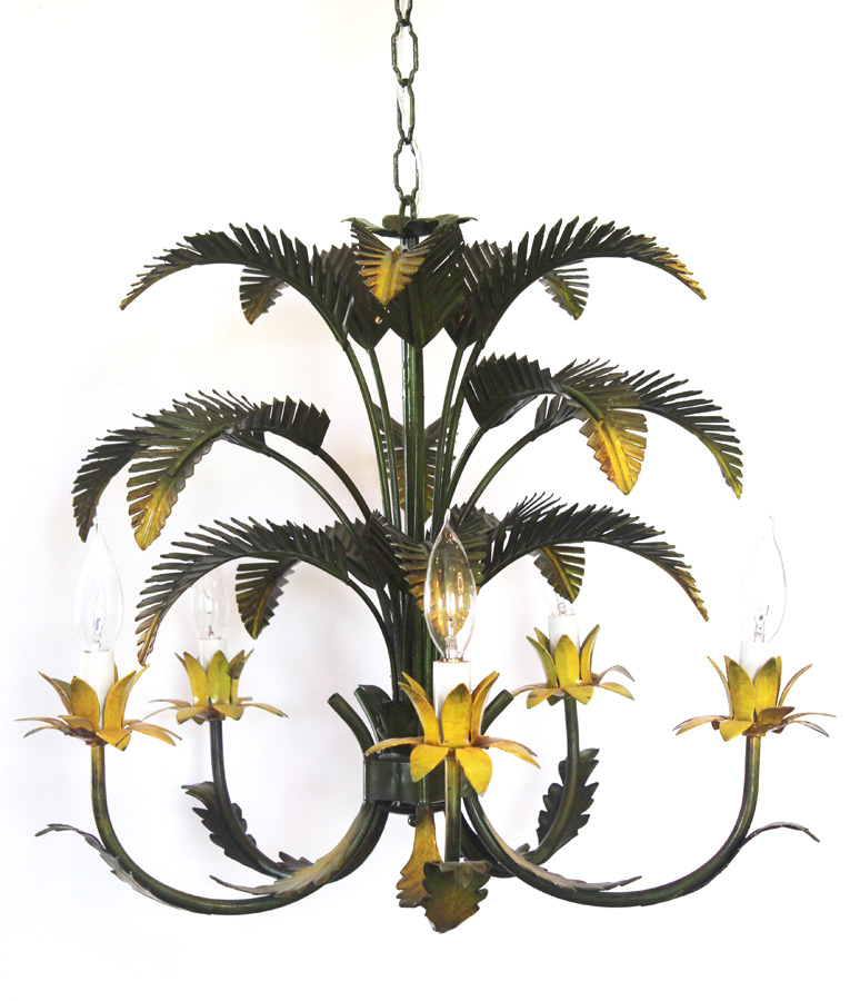 Rare Italian Tole Palm Leaf Antique Chandelier