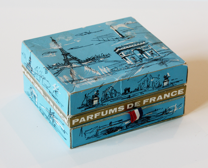 Miniature French Perfume Display Box & Bottles