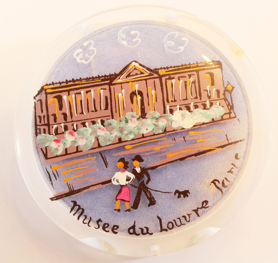 Antique Paris Handpainted Lucite Powder Compact