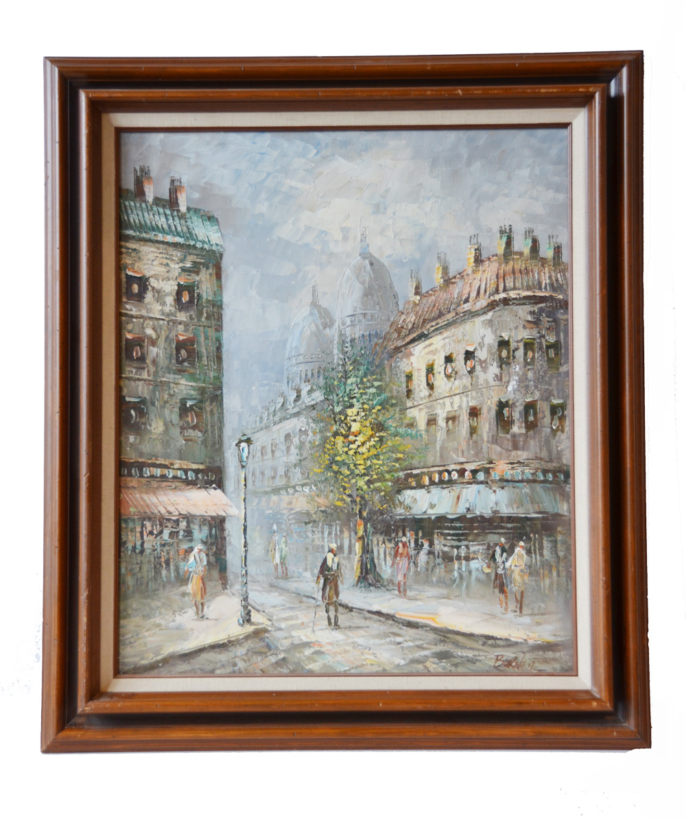 Antique Signed Street Scene Painting of Paris