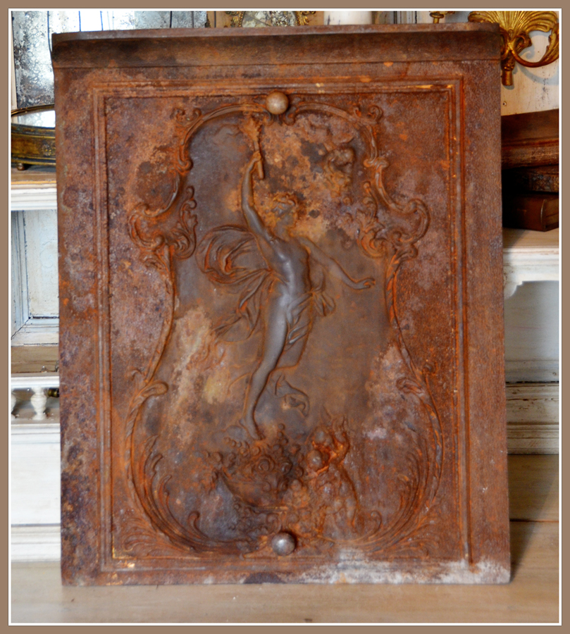 Cast Iron w/Copper Highlights Metal Victorian Goddess Screen
