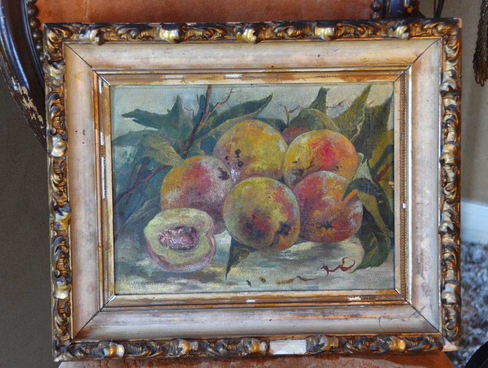 Antique French Victorian Peaches Framed Oil Painting