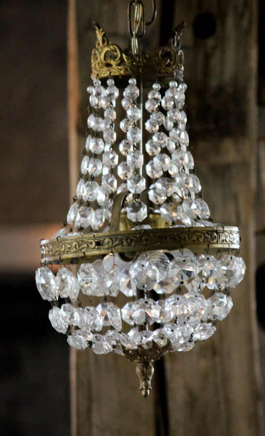 Antique Crystal Beaded Crown Shaped Pendant from France