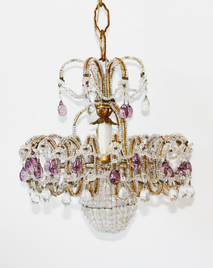 Incredible Rare Italian Beaded Amethyst Chandelier-