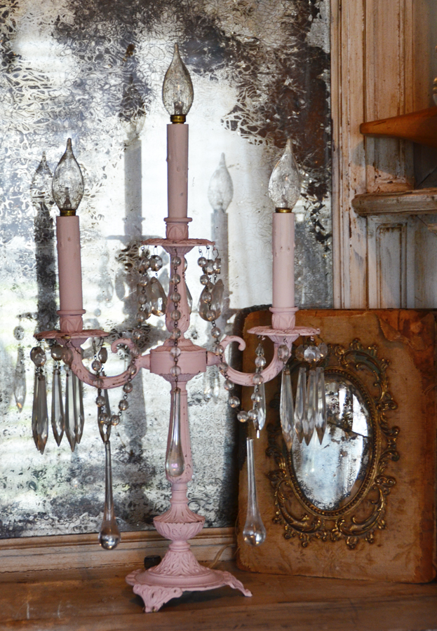 Reserved-Antique Girandole Crystal Chandelier Table Lamp-