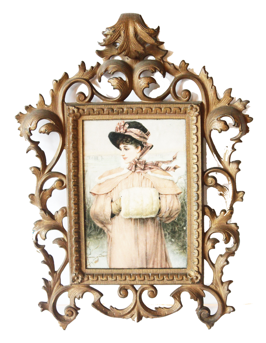 Antique Cast Iron Gilt Picture Frame Early 1900s-