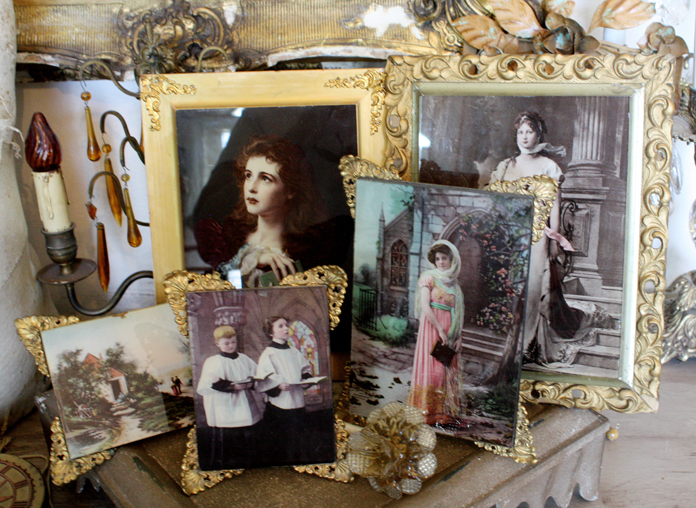 Private Collection of 5 Antique Victorian Ullman Mfg Co Ormolu Prints on Glass 1800s-