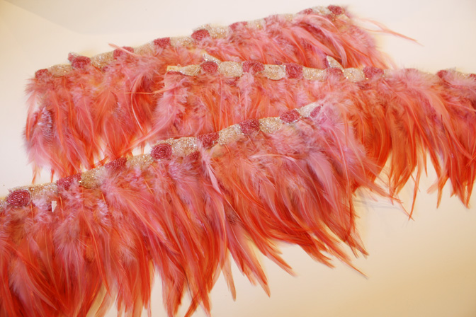 Rare Antique Beaded Flapper Feather Yardage Incredible