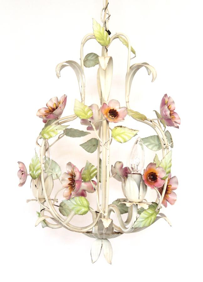 Italian Tole Vintage Floral Chandelier