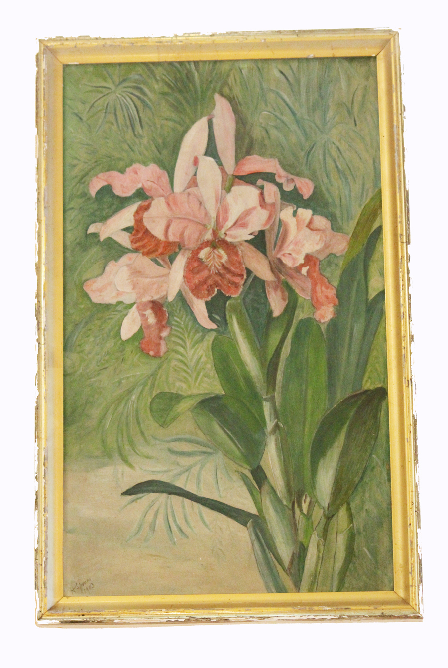 Early 1900s Signed Victorian Pink Lilles Floral Painting