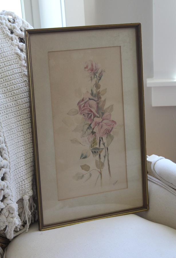 Victorian Framed Beautiful Pink Roses Pencil & WaterColors Painting