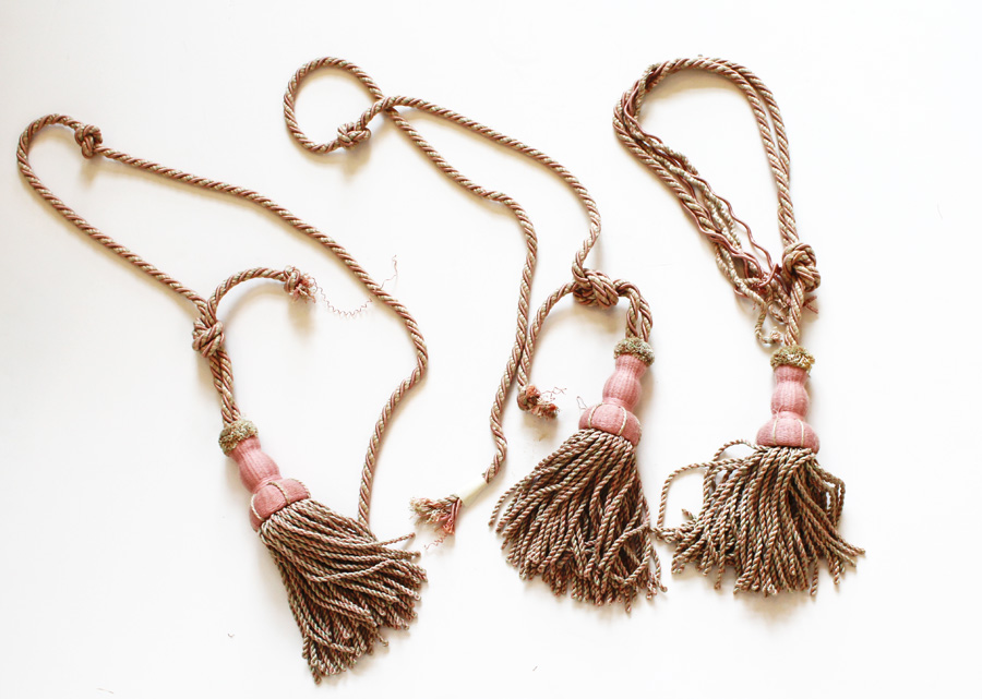 Set of Three Antique French Victorian Tassles-
