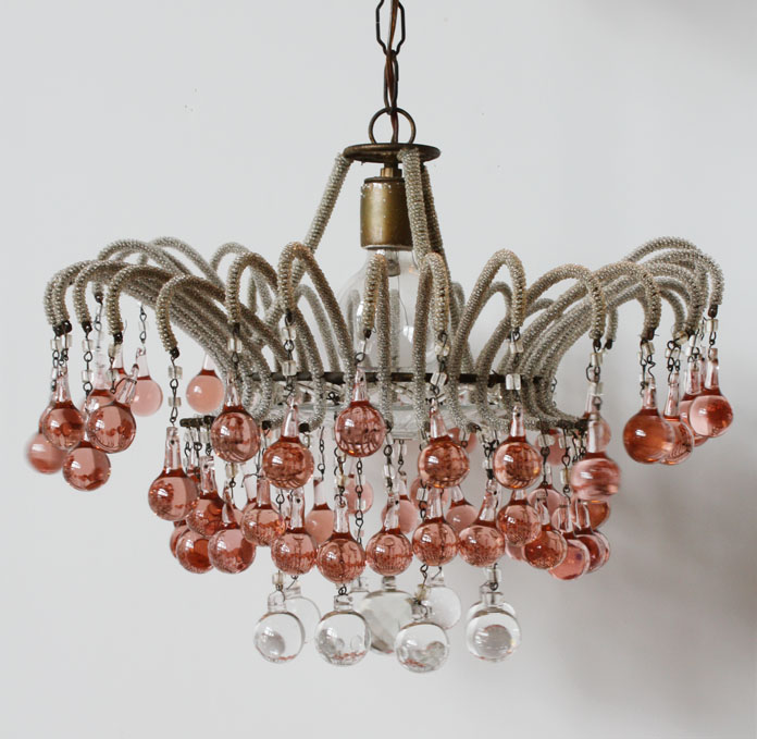 Rare Waterfall Italian Beaded Chandelier1920s MicroBeading