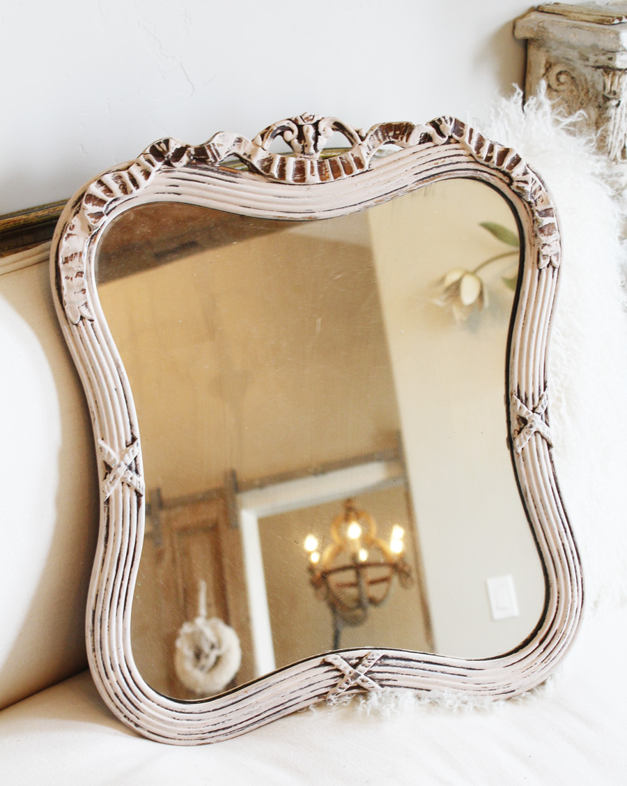 Antique Pale Pink Gorgeous Carved Wood Mirror