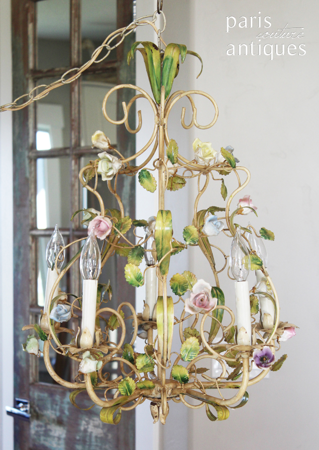 Antique Rare French Porcelain Flowers Tole Chandelier