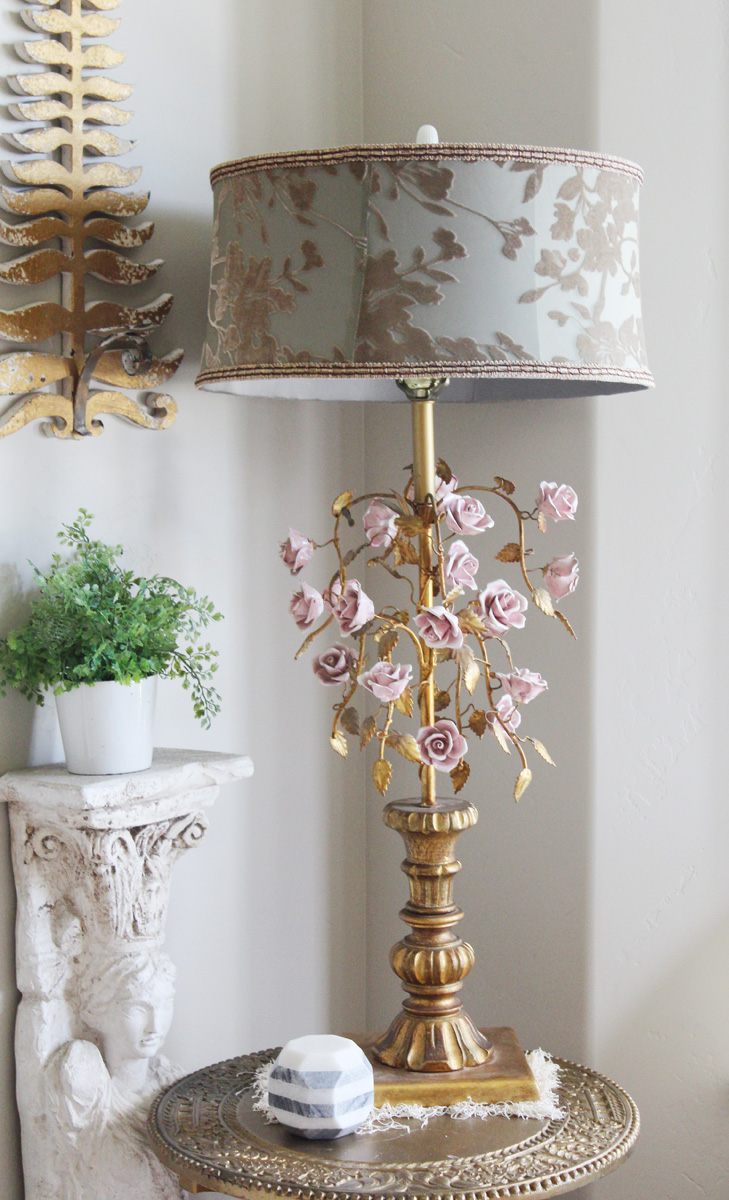 Antique Pink Porcelain Rose & Gilt Leaves Table Lamp