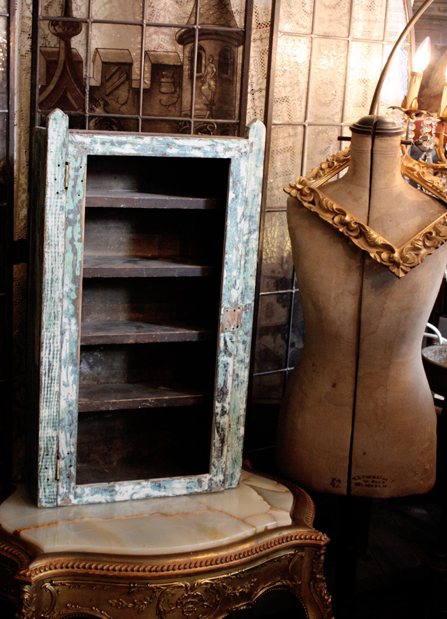 Antique French Farmhouse Primitive Curio Cabinet Early 1900s-