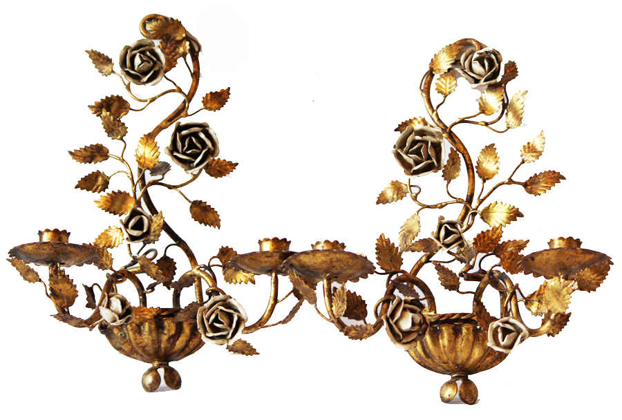 Gorgeous Antique Pair Italian Tole Gilt Wall Sconces-Italian Tole, Antique, Lighting, Vintage, Sconces, Sconce, Estate, French, Flea Market, Gilt, Roses, Italy