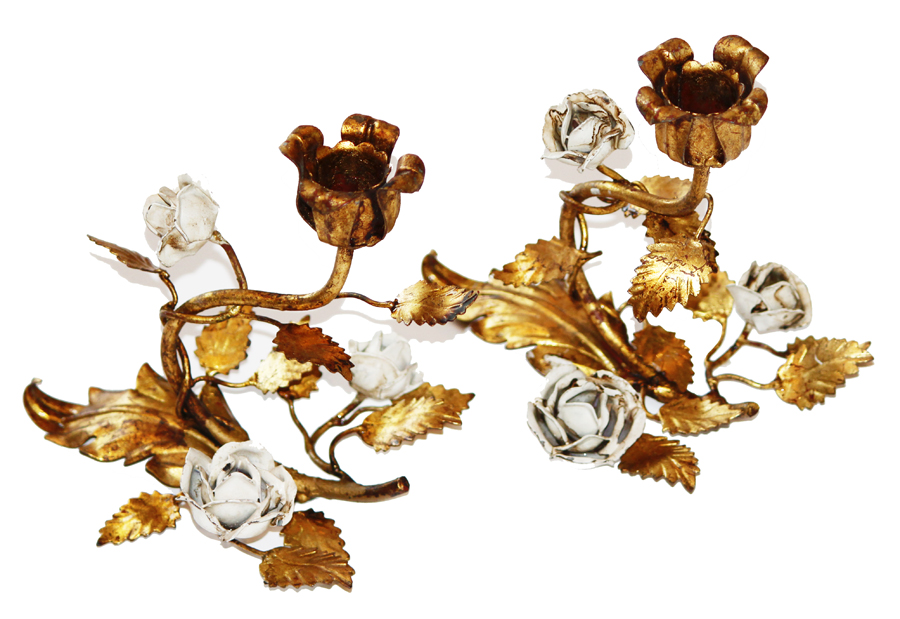Pair Italian Tole Gilt & White Roses Candlesticks Antique-