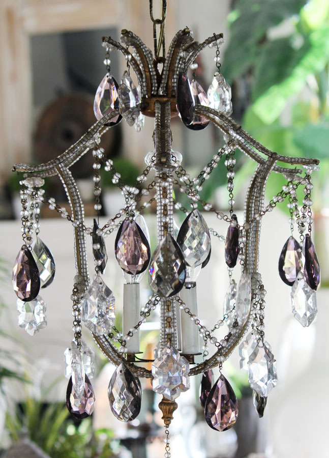 Gorgeous Antique Italian Beaded Smoke & Purple Crystal Chandelier