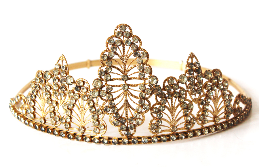 Antique Lifesize French Tiara/Crown Rhinestones-