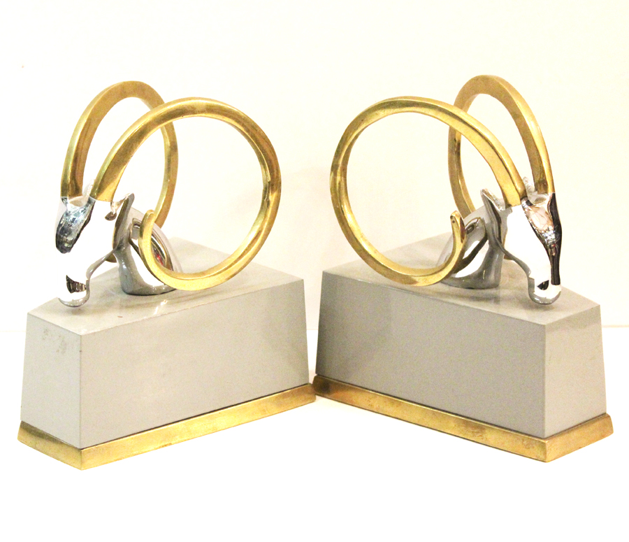 Art Deco Pair Ram Bookends