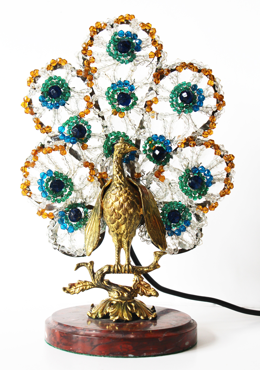 Rare Czech Antique Beaded Peacock Lamp