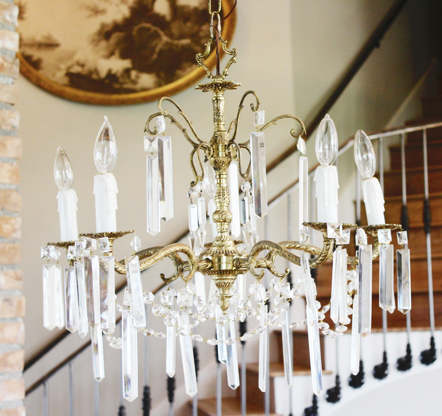 Antique Crystal & Brass Chandelier Rectagular Prisms-