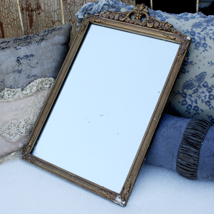 Antique Gilt Wood & Gesso Barbola Mirror