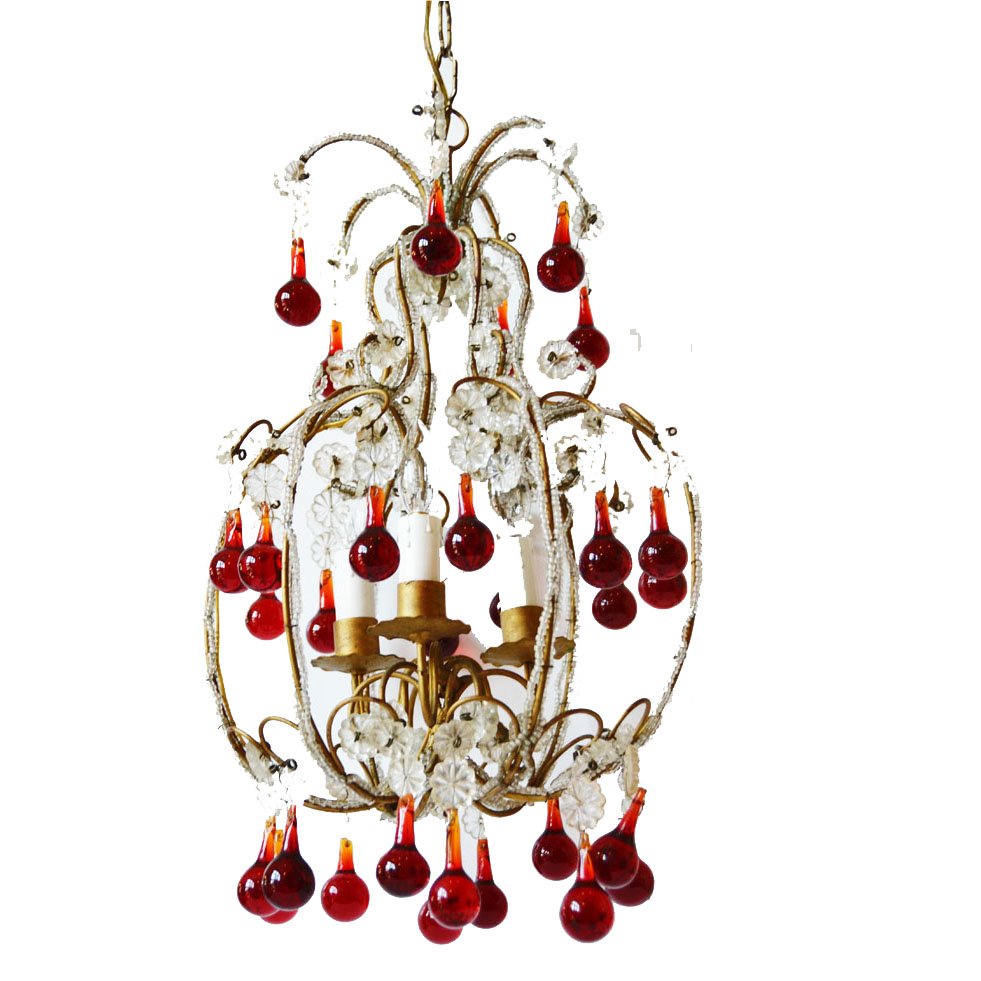 Incredible & Rare Antique Italian Beaded Chandelier-