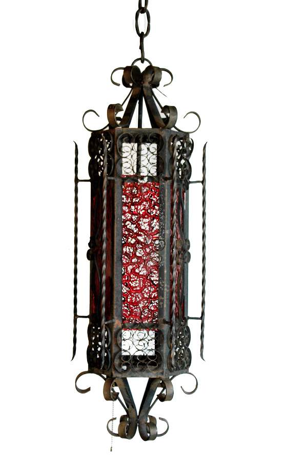 Antique Wrought Iron Red Glass Pendant Lantern Chandelier-
