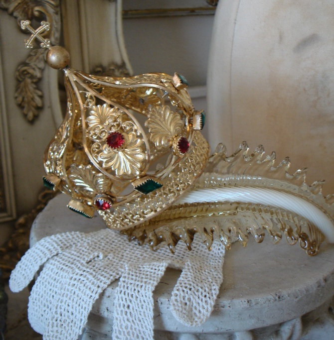 Beautiful French Antique Jeweled Crown Rare Shape-