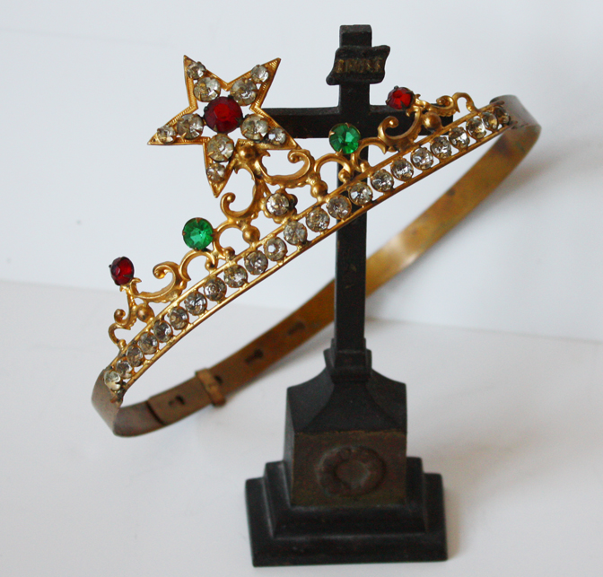 Lifesize Antique Saints French Stars Jeweled Crown 1800s-