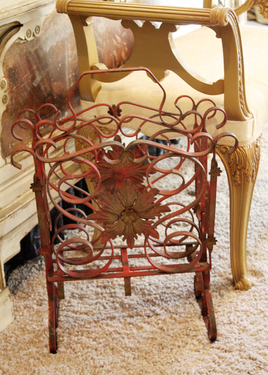 French Tole Wrought Iron Magazine Rack Original Incredible