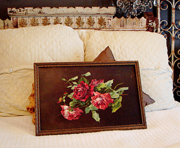 Antique Red Roses Lithograph Print Signed & Gorgeous